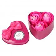 Розы из мыла в металлической коробке 3шт (Ярко-розовый)