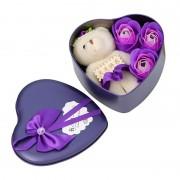 Мягкий мишка с розами из мыла (Фиолетовый)