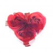 Розы из мыла 3 шт. в прозрачной коробке (Красный)