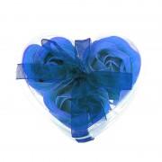 Розы из мыла 3 шт. в прозрачной коробке (Синий)