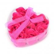 Розы из мыла 9 шт. в прозрачной коробке (Малиновый)