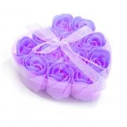 Розы из мыла 9 шт. в прозрачной коробке (Фиолетовый)