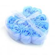 Розы из мыла 9 шт. в прозрачной коробке (Голубой)