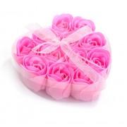 Розы из мыла 9 шт. в прозрачной коробке (Розовый)