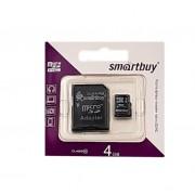 Карта памяти microSD Smartbuy 4GB Class10 + адаптер SDHC (Черный)