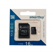Карта памяти microSD Smartbuy 16GB Class10 + адаптер SDHC (Черный)