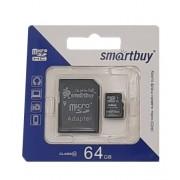 Карта памяти microSD Smartbuy 64GB Class10 + адаптер SDHC (Черный)