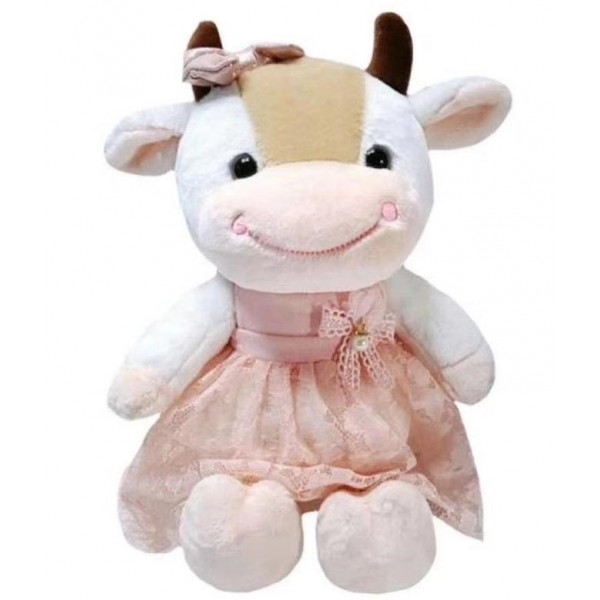 Мягкая игрушка Коровка в платье с бантиком 24см (Белый)
