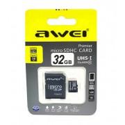 Карта памяти microSD Awei 32GB Class10 + адаптер SDHC (Черный)