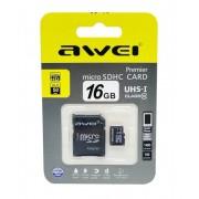 Карта памяти microSD Awei 16GB Class10 + адаптер SDHC (Черный)