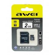Карта памяти microSD Awei 2GB Class10 + адаптер SDHC (Черный)