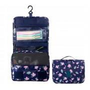 Дорожная сумка для туалетных принадлежностей (Синий с фламинго)