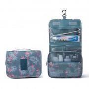Дорожная сумка для туалетных принадлежностей (Серый с фламинго)