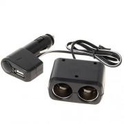 Разветвитель автоприкуривателя WF-0097, 2 гнезда+USB-А (Черный)