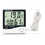 Цифровой термомогигрометр с датчиком HTC-2 (Черно-белый)