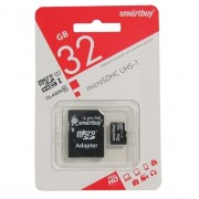 Карта памяти microSD Smartbuy 32GB Class10 + адаптер SDHC (Черный)