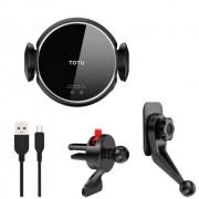 Автомобильный держатель для телефона с беспроводной зарядкой TOTU CMCW-040 (Черный)