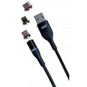 Магнитный кабель MRM 3in1 Lightning/Micro/Type-C, 1m (Черный)