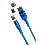 Магнитный кабель MRM 3in1 Lightning/Micro/Type-C, 1m (Голубой)