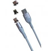 Магнитный кабель MRM 3in1 Lightning/Micro/Type-C, 1m (Серый)