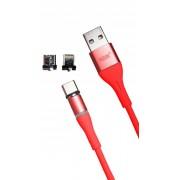 Магнитный кабель MRM 3in1 Lightning/Micro/Type-C, 1m (Красный)