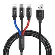 Кабель 3 в 1 WIWU YZ-100, microUSB+ Lightning+Lightning - USB-А (Черный)