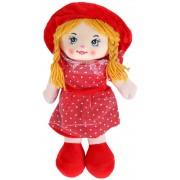 Кукла в платье в горошек и шляпке 35см (Красный)