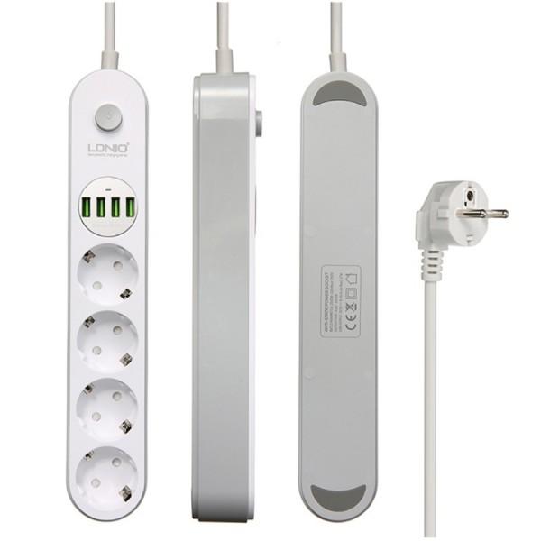 Сетевой фильтр (удлинитель) LDNIO Power Socket 4x220w + 4 USB 3,1A 2 m SE4432 (Белый)