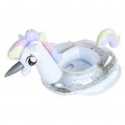 Детский надувной круг PL-005 Единорог пони 70х30 см (Белый с блестками)