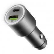 Автомобильное зарядное устройство Interstep RT, Type-C + QC, 42W (серебро)