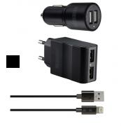 Набор Interstep RT: автомобильное зарядное устройство + сетевое зарядное устройство + каб Mfi iPhone5/iPadmini 8пин 2А