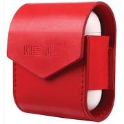 Кожаный чехол Interstep для наушников AirPods (красный)