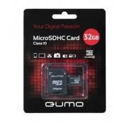 Карта памяти MicroSD 32GB Qumo Class 10 + SD адаптер