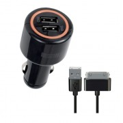 Автомобильное зарядное устройство Interstep Комбо: 2USB + каб  для iPhone/iPAD 30 Pin ток 2А