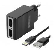 Зарядное устройство от сети Interstep Комбо: 2USB+ каб для iPhone/iPAD MFI ток 2А
