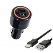 Автомобильное зарядное устройство Interstep Комбо: 2USB + каб для iPhone5/iPadmini MFI (Lightning - 8пин) 2.4А+2.4А