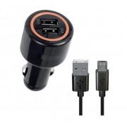 Автомобильное зарядное устройство Interstep Комбо: 2USB + каб microUSB ток 2А