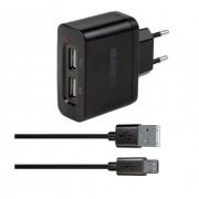 Зарядное устройство от сети Interstep Комбо: 2USB+ каб microUSB ток 2А