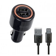 Автомобильное зарядное устройство Interstep Комбо: 2USB + каб microUSB 2А+2А
