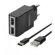 Зарядное устройство от сети Interstep Комбо: 2USB + каб USB Type-C 2А