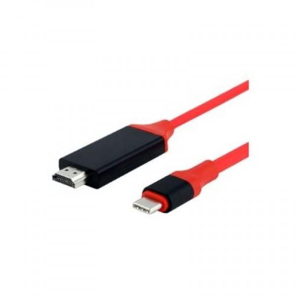 Кабель-переходник HDTV USB Type-C на HDMI (Красный)