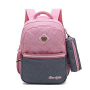 Рюкзак школьный в комплекте с пеналом Sun eight SE-2642 (Розовый-серый)