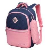 Рюкзак школьный в комплекте с пеналом Sun eight SE-2642 (Темно-синий-розовый)