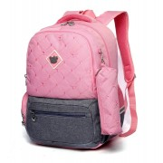 Рюкзак школьный в комплекте с пеналом Sun eight SE-2640 (Розовый-серый)