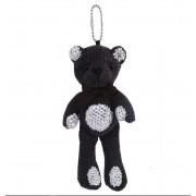 Брелок на сумку, рюкзак, плюшевый мишка со стразами (Черный)