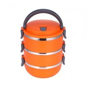 Ланч бокс 3 секции Lunch Box Urban Living 3 Layer Stainless Steel термо контейнер для обедов (Оранжевый)