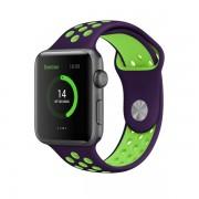 Ремешок спортивный для часов Apple Watch Band 42 44 гибкий, для пробежек, спортивный, плотно прилегающий (Пурпурно-зеленый)
