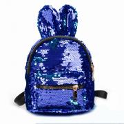 Рюкзак с блестками пайетками ушки зайца (Синий)