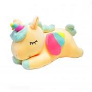 Мягкая игрушка Единорог со светящимся рогом 60 см (Желтая)