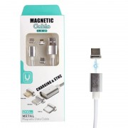Магнитный кабель 3 в 1 DM-M12 Magnetic cable MicroUSB, Apple Lightning, Type-C (Серебристый)